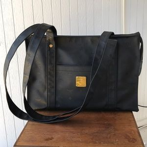 Authentic MCM black monogram tote!